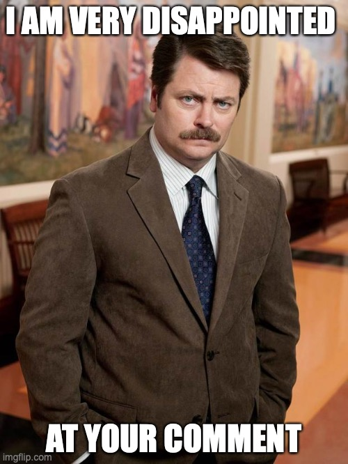 ron swanson |  I AM VERY DISAPPOINTED; AT YOUR COMMENT | image tagged in ron swanson | made w/ Imgflip meme maker