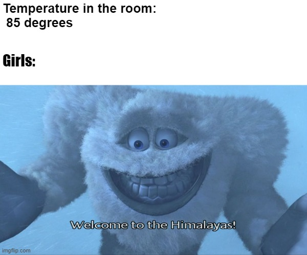 Its not cold... |  Temperature in the room:    85 degrees; Girls: | image tagged in welcome to the himalayas | made w/ Imgflip meme maker