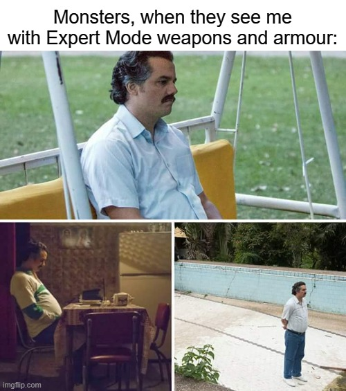 Sad Terraria Monsters ;w; |  Monsters, when they see me with Expert Mode weapons and armour: | image tagged in memes,sad pablo escobar,terraria,expert mode,monster,non-american spelling | made w/ Imgflip meme maker