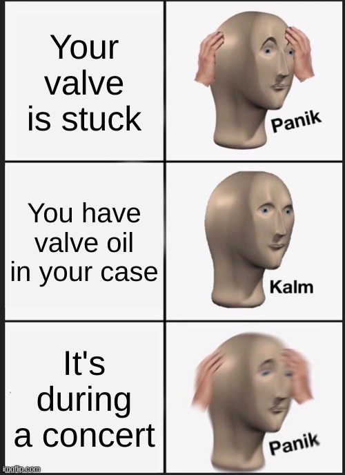 Panik Kalm Panik |  Your valve is stuck; You have valve oil in your case; It's at a concert | image tagged in memes,panik kalm panik | made w/ Imgflip meme maker