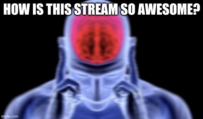Idk, just wanted to use this template |  HOW IS THIS STREAM SO AWESOME? | image tagged in brain damage | made w/ Imgflip meme maker