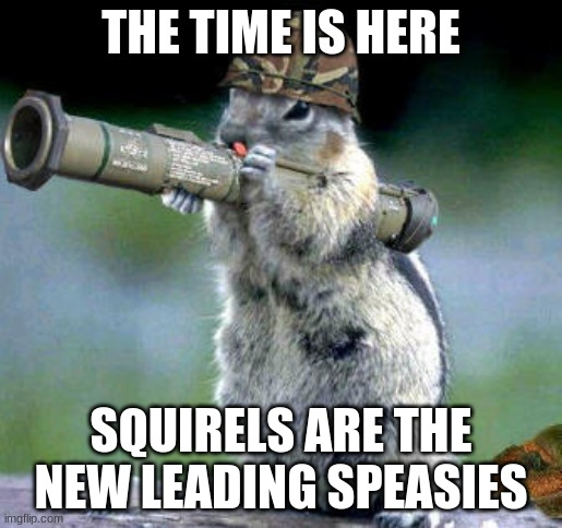 Bazooka Squirrel |  THE TIME IS HERE; SQUIRELS ARE THE NEW LEADING SPEASIES | image tagged in memes,bazooka squirrel | made w/ Imgflip meme maker