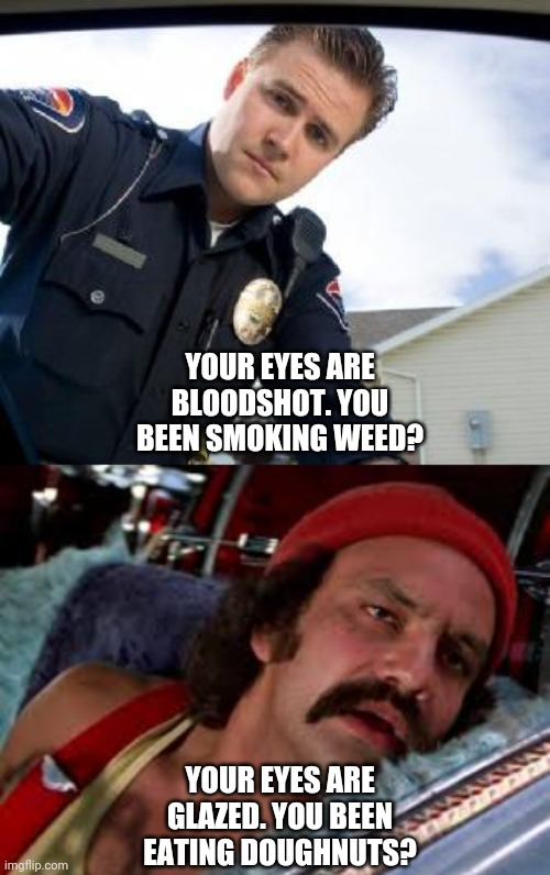 YOUR EYES ARE BLOODSHOT. YOU BEEN SMOKING WEED? YOUR EYES ARE GLAZED. YOU BEEN EATING DOUGHNUTS? | image tagged in cheech and chong,police,stoned,driving,bloodshot,doughnuts | made w/ Imgflip meme maker