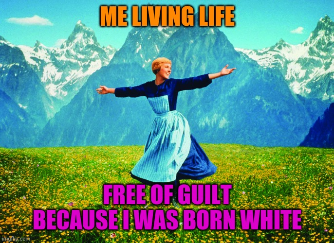 Triggered Liberals In 3...2...1... |  ME LIVING LIFE; FREE OF GUILT BECAUSE I WAS BORN WHITE | image tagged in not racist,politics,stupid liberals,division | made w/ Imgflip meme maker