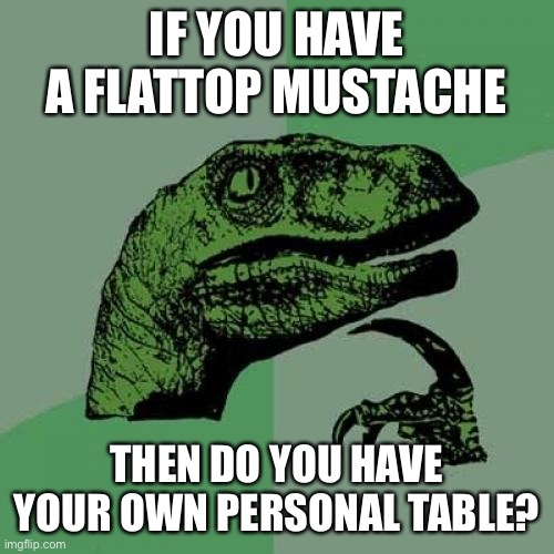 Think about it for a sec |  IF YOU HAVE A FLATTOP MUSTACHE; THEN DO YOU HAVE YOUR OWN PERSONAL TABLE? | image tagged in memes,philosoraptor | made w/ Imgflip meme maker