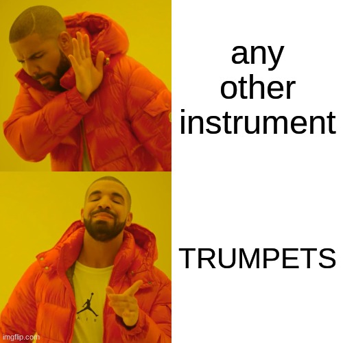 TRUMPETS! |  any other instrument; TRUMPETS | image tagged in memes,drake hotline bling,trumpets | made w/ Imgflip meme maker