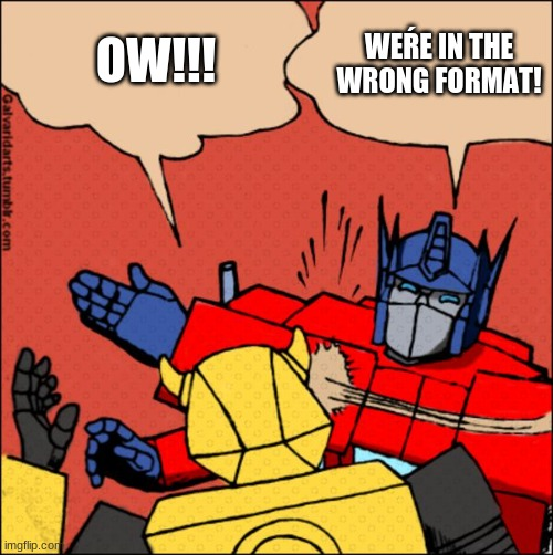 optimus prime slapping bee |  WEŔE IN THE WRONG FORMAT! OW!!! | image tagged in transformer slap | made w/ Imgflip meme maker