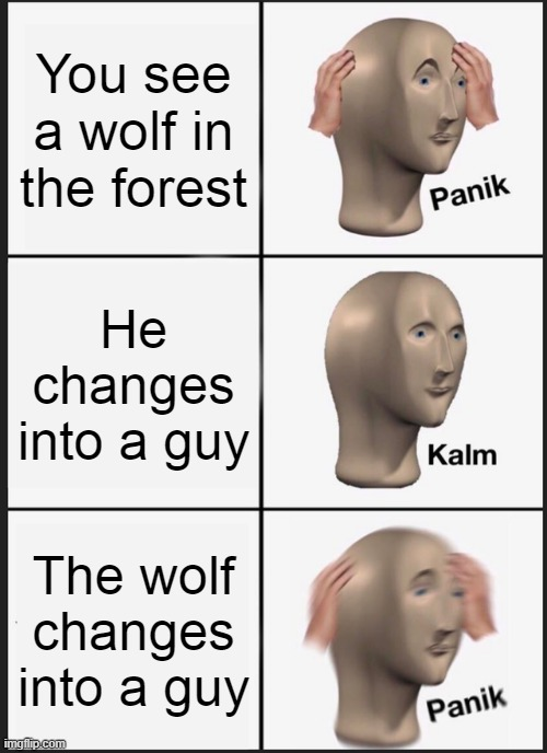 Panik Kalm Panik |  You see a wolf in the forest; He changes into a guy; The wolf changes into a guy | image tagged in memes,panik kalm panik,wolf,werewolf,meme man | made w/ Imgflip meme maker