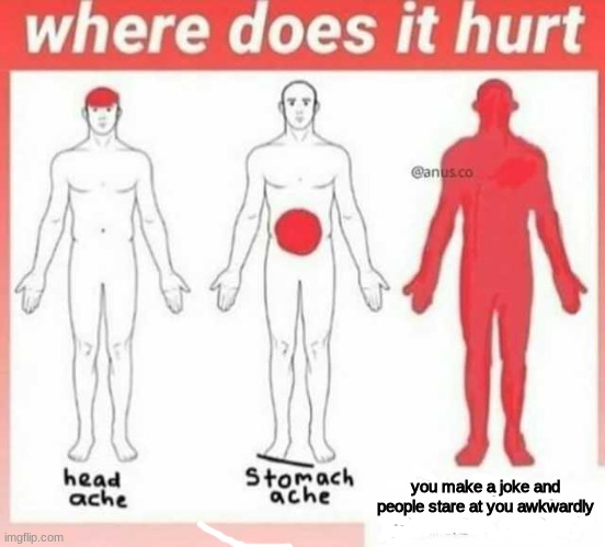 Where does it hurt |  you make a joke and people stare at you awkwardly | image tagged in where does it hurt | made w/ Imgflip meme maker