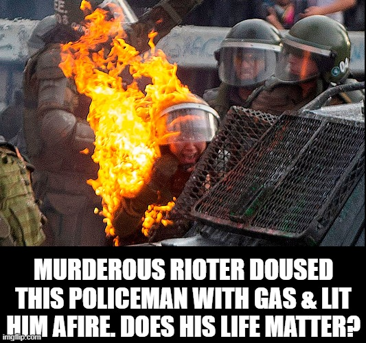 Police Offer their Lives in Service to their Community. Here's the thanks they get from Anarchic Terrorists |  MURDEROUS RIOTER DOUSED THIS POLICEMAN WITH GAS & LIT HIM AFIRE. DOES HIS LIFE MATTER? | image tagged in vince vance,sjws,cowards,communists,memes,antifa | made w/ Imgflip meme maker