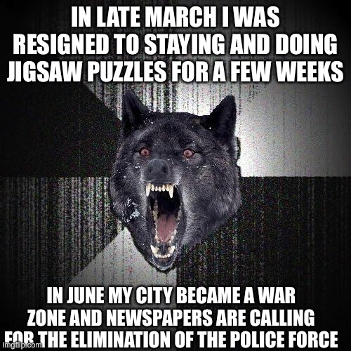 Tense June |  IN LATE MARCH I WAS RESIGNED TO STAYING AND DOING JIGSAW PUZZLES FOR A FEW WEEKS; IN JUNE MY CITY BECAME A WAR ZONE AND NEWSPAPERS ARE CALLING FOR THE ELIMINATION OF THE POLICE FORCE | image tagged in memes,insanity wolf | made w/ Imgflip meme maker