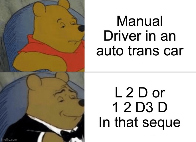 Manual Driver! |  Manual Driver in an auto trans car; L 2 D or 1 2 D3 D In that sequence | image tagged in memes,tuxedo winnie the pooh,manual,car memes | made w/ Imgflip meme maker