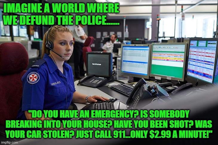"defund? |  IMAGINE A WORLD WHERE WE DEFUND THE POLICE...... ""DO YOU HAVE AN EMERGENCY? IS SOMEBODY BREAKING INTO YOUR HOUSE? HAVE YOU BEEN SHOT? WAS YOUR CAR STOLEN? JUST CALL 911...ONLY $2.99 A MINUTE!"" 