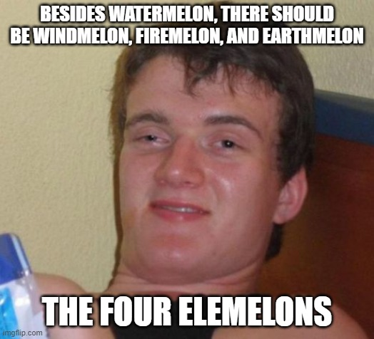 10 Guy |  BESIDES WATERMELON, THERE SHOULD BE WINDMELON, FIREMELON, AND EARTHMELON; THE FOUR ELEMELONS | image tagged in memes,10 guy | made w/ Imgflip meme maker