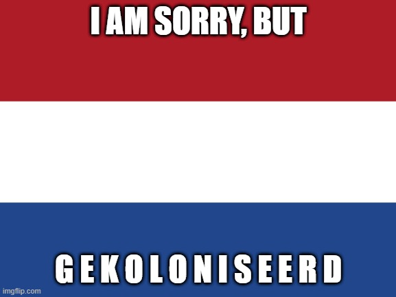 it has breached imgflip defences |  I AM SORRY, BUT; G E K O L O N I S E E R D | image tagged in netherlands,memes,sorry not sorry | made w/ Imgflip meme maker