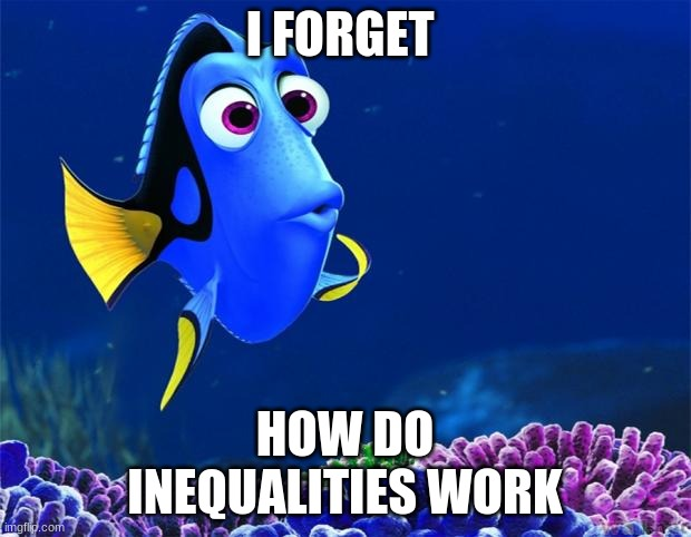 Dory |  I FORGET; HOW DO  INEQUALITIES WORK | image tagged in dory | made w/ Imgflip meme maker