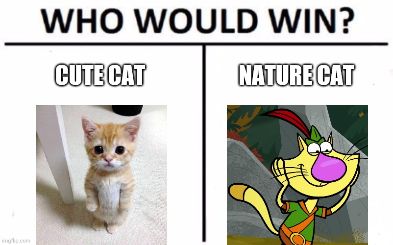 Hint: The template I used in comments |  CUTE CAT; NATURE CAT | image tagged in memes,who would win,omg nature cat,cats,cute cat,nature cat | made w/ Imgflip meme maker