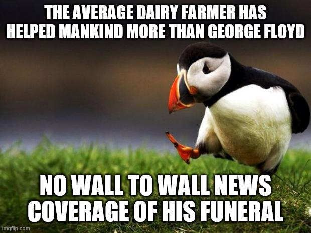 Unpopular Opinion Puffin |  THE AVERAGE DAIRY FARMER HAS HELPED MANKIND MORE THAN GEORGE FLOYD; NO WALL TO WALL NEWS COVERAGE OF HIS FUNERAL | image tagged in memes,unpopular opinion puffin | made w/ Imgflip meme maker