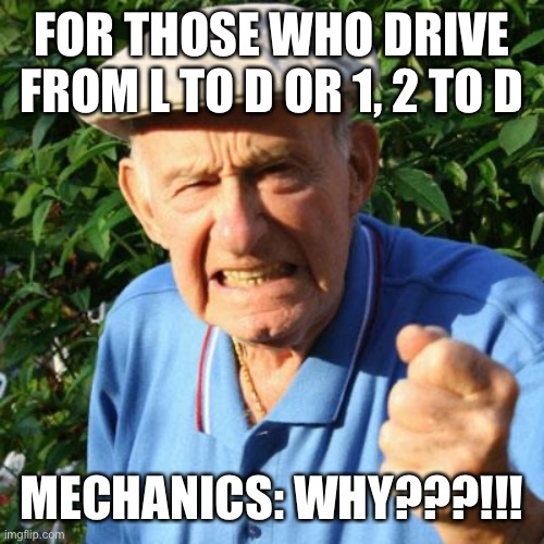 Stupid Driver |  FOR THOSE WHO DRIVE FROM L TO D OR 1, 2 TO D; MECHANICS: WHY???!!! | image tagged in angry old man,car memes,automatic | made w/ Imgflip meme maker