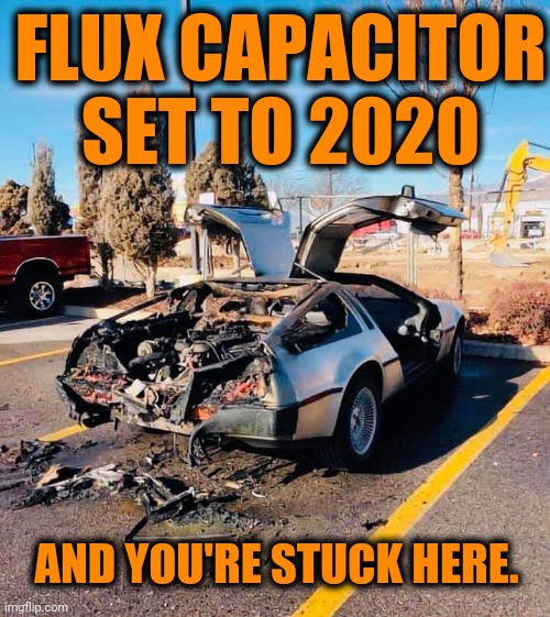 Emmett Brown - HOSED. |  FLUX CAPACITOR SET TO 2020; AND YOU'RE STUCK HERE. | image tagged in back to the future,2020,dank | made w/ Imgflip meme maker