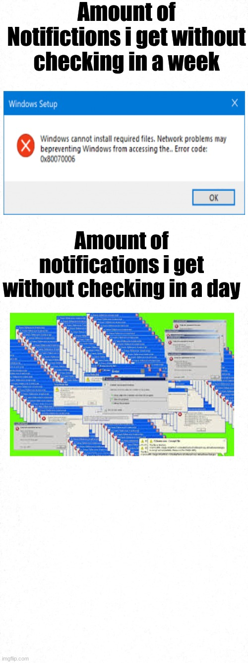 yes |  Amount of Notifictions i get without checking in a week; Amount of notifications i get without checking in a day | image tagged in notifications | made w/ Imgflip meme maker