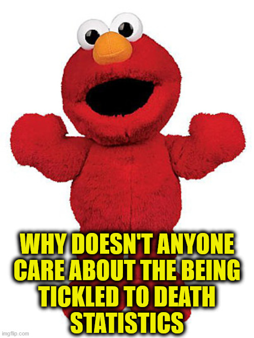 Tickle me Elmo |  WHY DOESN'T ANYONE CARE ABOUT THE BEING TICKLED TO DEATH STATISTICS | image tagged in tickle me elmo,memes,statistics,see nobody cares,no no hes got a point,first world problems | made w/ Imgflip meme maker