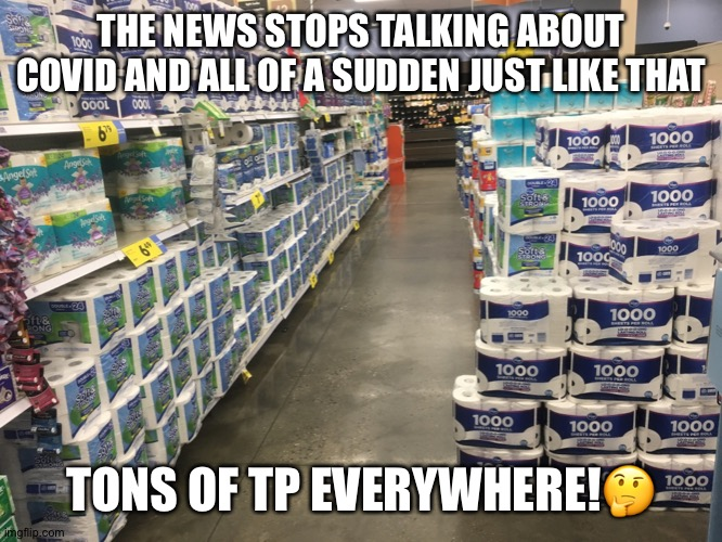 Lots of TP |  THE NEWS STOPS TALKING ABOUT COVID AND ALL OF A SUDDEN JUST LIKE THAT; TONS OF TP EVERYWHERE!🤔 | image tagged in covid,corona,coronavirus,tp,pandemic,hoarding | made w/ Imgflip meme maker