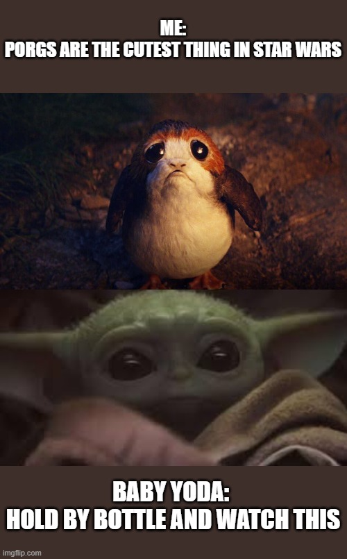Baby Yoda and Porg |  ME: PORGS ARE THE CUTEST THING IN STAR WARS; BABY YODA:  HOLD BY BOTTLE AND WATCH THIS | image tagged in star wars,baby yoda,star wars porg,porg | made w/ Imgflip meme maker