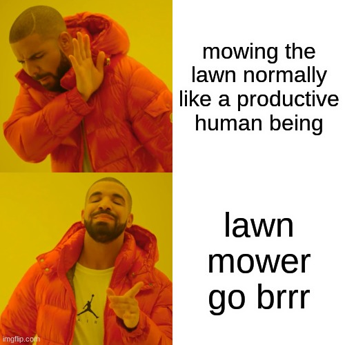 Drake Hotline Bling |  mowing the lawn normally like a productive human being; lawn mower go brrr | image tagged in memes,drake hotline bling | made w/ Imgflip meme maker