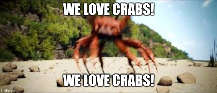 :D YAY! |  WE LOVE CRABS! WE LOVE CRABS! | image tagged in crab rave | made w/ Imgflip meme maker