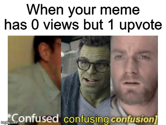 When your meme has 0 views but 1 upvote | image tagged in confused,these are confusing times,confusion,0 views,1 upvote,how does this work | made w/ Imgflip meme maker