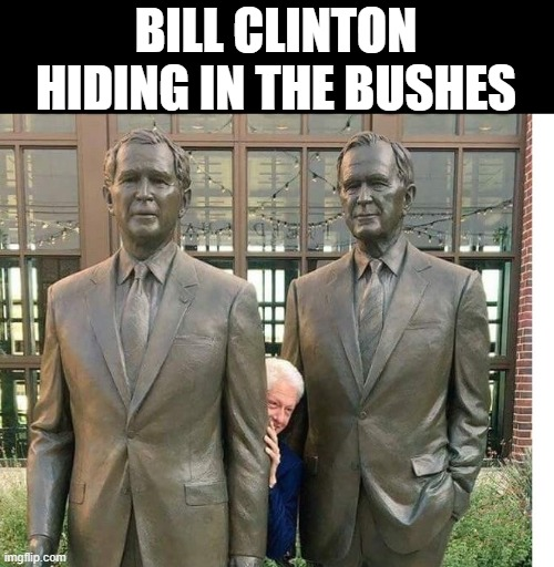 Bush man |  BILL CLINTON HIDING IN THE BUSHES | image tagged in george bush,memes,bill clinton,stop reading the tags,unnecessary tags,this is america | made w/ Imgflip meme maker