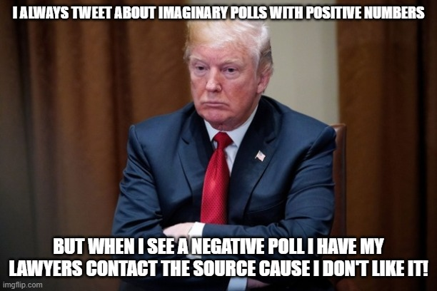Man Baby Trump |  I ALWAYS TWEET ABOUT IMAGINARY POLLS WITH POSITIVE NUMBERS; BUT WHEN I SEE A NEGATIVE POLL I HAVE MY LAWYERS CONTACT THE SOURCE CAUSE I DON'T LIKE IT! | image tagged in man baby trump | made w/ Imgflip meme maker