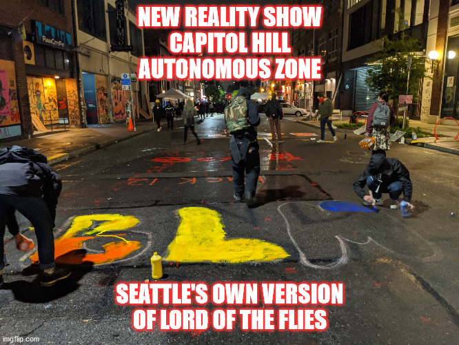 autonomous zone |  NEW REALITY SHOW CAPITOL HILL AUTONOMOUS ZONE; SEATTLE'S OWN VERSION OF LORD OF THE FLIES | image tagged in political humor | made w/ Imgflip meme maker