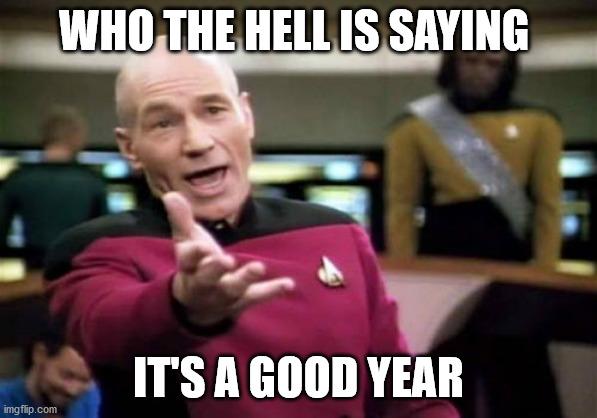 Picard Wtf Meme | WHO THE HELL IS SAYING IT'S A GOOD YEAR | image tagged in memes,picard wtf | made w/ Imgflip meme maker