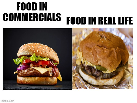 its fax tho |  FOOD IN REAL LIFE; FOOD IN COMMERCIALS | image tagged in lol,hamburger,lmao,cool | made w/ Imgflip meme maker