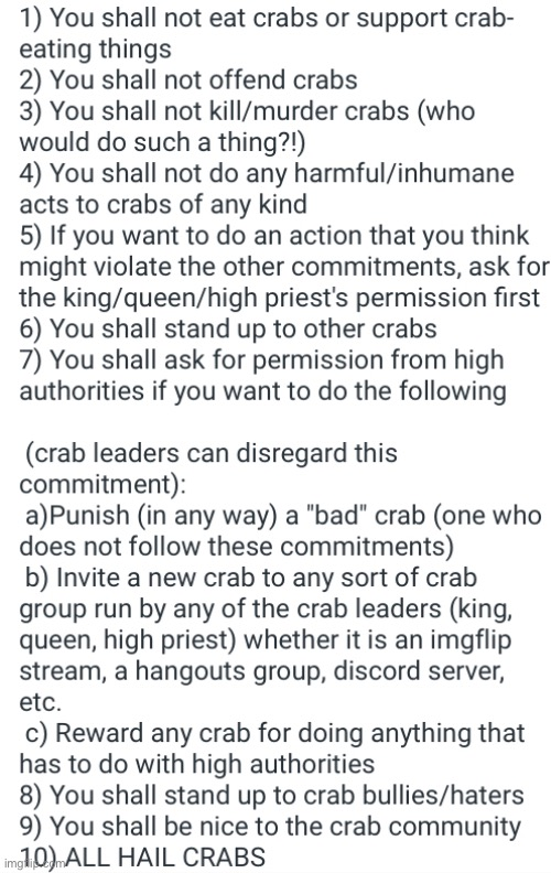 Crab rules regarding le crabs. | image tagged in crabs | made w/ Imgflip meme maker