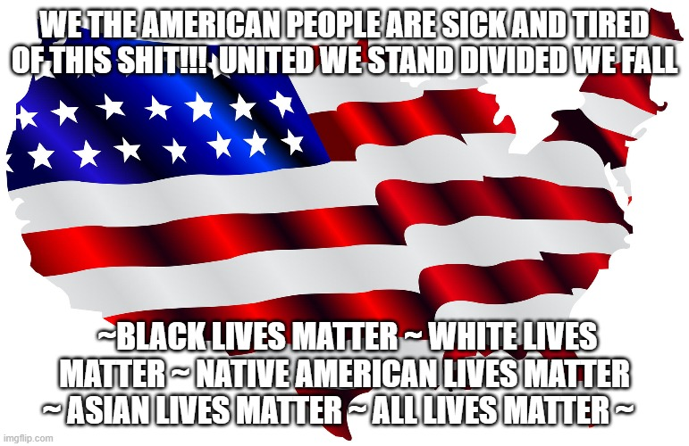 We the American People |  WE THE AMERICAN PEOPLE ARE SICK AND TIRED OF THIS SHIT!!!  UNITED WE STAND DIVIDED WE FALL; ~BLACK LIVES MATTER ~ WHITE LIVES MATTER ~ NATIVE AMERICAN LIVES MATTER ~ ASIAN LIVES MATTER ~ ALL LIVES MATTER ~ | image tagged in passive aggressive racism | made w/ Imgflip meme maker