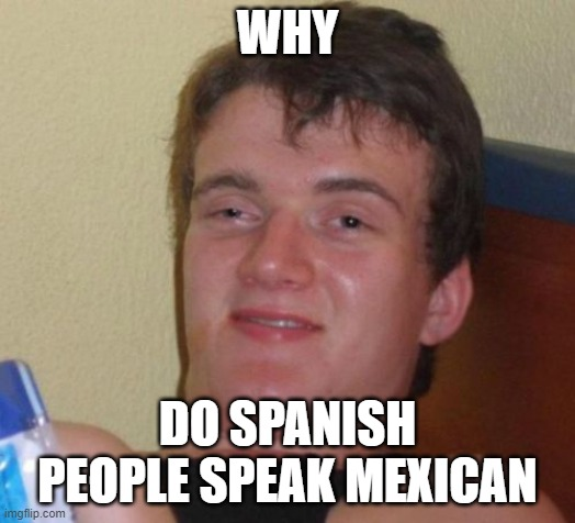 Why do Spanish people speak Mexican? |  WHY; DO SPANISH PEOPLE SPEAK MEXICAN | image tagged in memes,10 guy,funny,so true memes,lol so funny,unnecessary tags | made w/ Imgflip meme maker