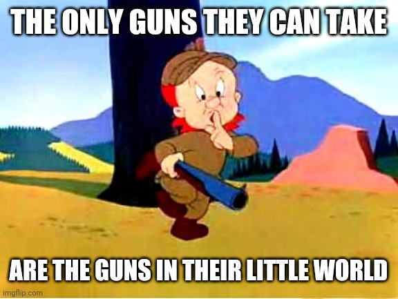 Elmer Fudd |  THE ONLY GUNS THEY CAN TAKE; ARE THE GUNS IN THEIR LITTLE WORLD | image tagged in elmer fudd | made w/ Imgflip meme maker