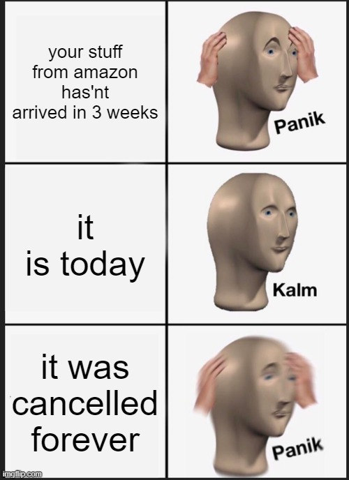 Amazon sucks |  your stuff from amazon has'nt arrived in 3 weeks; it is today; it was cancelled forever | image tagged in memes,panik kalm panik | made w/ Imgflip meme maker