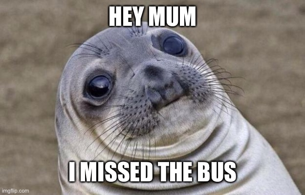 Hey mum |  HEY MUM; I MISSED THE BUS | image tagged in memes,awkward moment sealion,bus | made w/ Imgflip meme maker