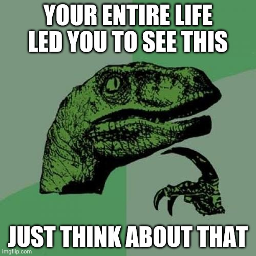 Philosoraptor Meme |  YOUR ENTIRE LIFE LED YOU TO SEE THIS; JUST THINK ABOUT THAT | image tagged in memes,philosoraptor | made w/ Imgflip meme maker
