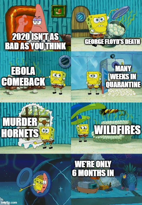 I wonder how the second half will turn out. |  2020 ISN'T AS BAD AS YOU THINK; GEORGE FLOYD'S DEATH; MANY WEEKS IN QUARANTINE; EBOLA COMEBACK; MURDER HORNETS; WILDFIRES; WE'RE ONLY 6 MONTHS IN | image tagged in memes,spongebob diapers meme,2020,bad taste,quarantine,what's next | made w/ Imgflip meme maker