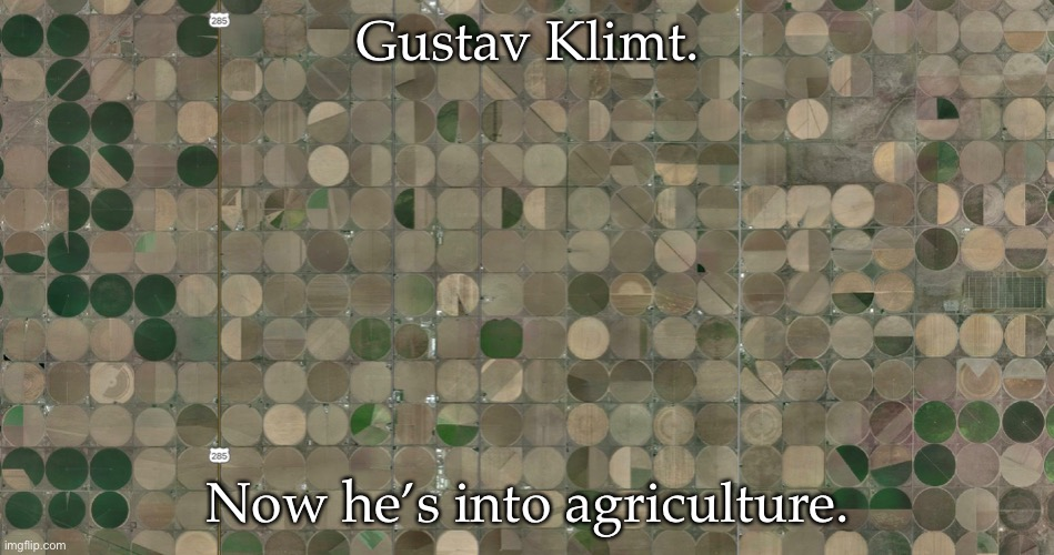 Gustav Klimt |  Gustav Klimt. Now he's into agriculture. | image tagged in art,gustav klimt,painting,patterns,fields,irrigation | made w/ Imgflip meme maker