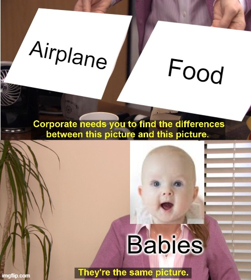 Babies be like |  Airplane; Food; Babies | image tagged in memes,they're the same picture | made w/ Imgflip meme maker