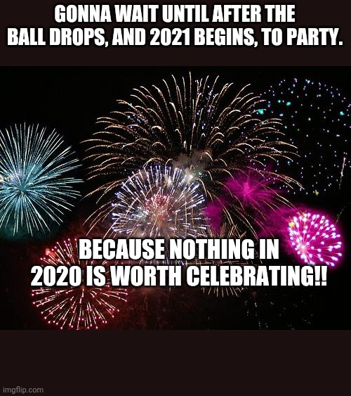 New Years  |  GONNA WAIT UNTIL AFTER THE BALL DROPS, AND 2021 BEGINS, TO PARTY. BECAUSE NOTHING IN 2020 IS WORTH CELEBRATING!! | image tagged in new years | made w/ Imgflip meme maker