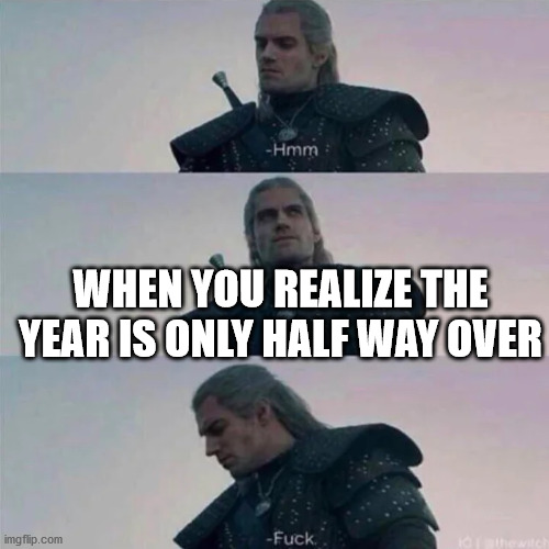 Half Way |  WHEN YOU REALIZE THE YEAR IS ONLY HALF WAY OVER | image tagged in witcher hmm,2020,year | made w/ Imgflip meme maker