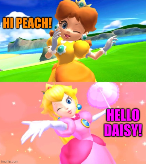 Winking princesses |  HI PEACH! HELLO DAISY! | image tagged in peach wink,daisy wink,peach,princess peach,daisy,mario | made w/ Imgflip meme maker
