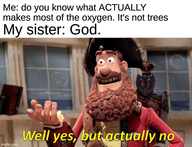 It's the plants in the ocean, in case you wanted to know |  Me: do you know what ACTUALLY makes most of the oxygen. It's not trees; My sister: God. | image tagged in memes,well yes but actually no | made w/ Imgflip meme maker